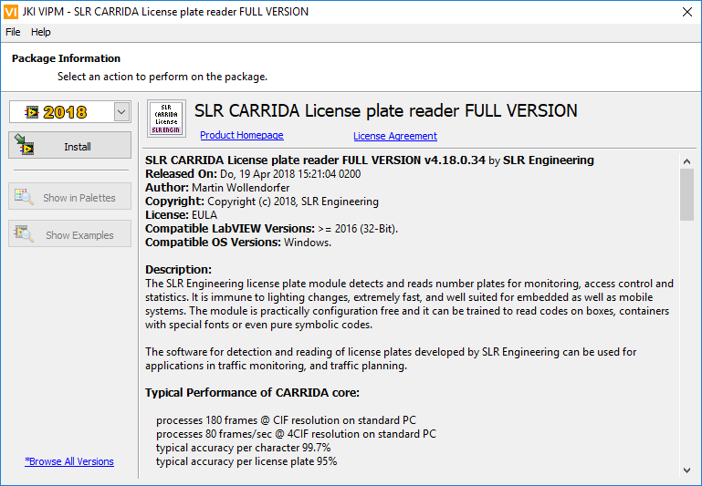 Installation and licensing of Carrida for LabView