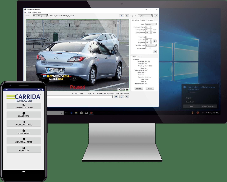 CARRIDA Software angezeigt auf einem Monitor und einem Smartphone