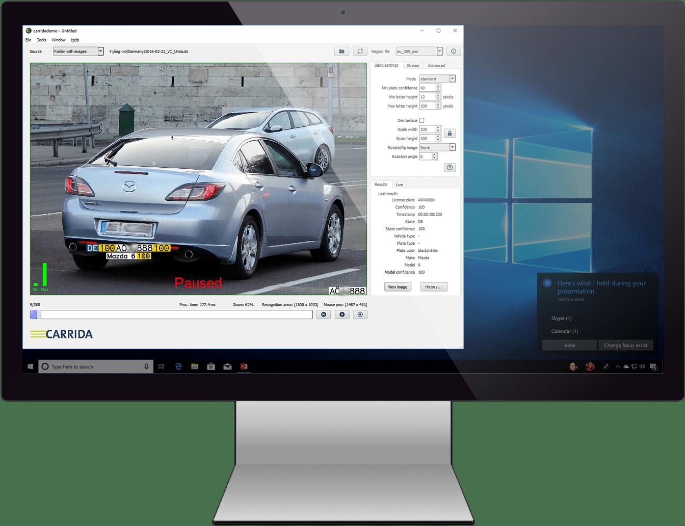 CARRIDA Software auf einem Beispielmonitor